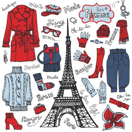 Paris style.Fashion clothing set.Colored tricolor Sketch Vector