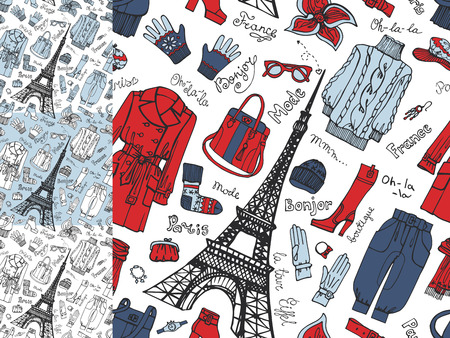 spring coat: Paris Fashion.Clothing seamless pattern set.Tricolor doodle