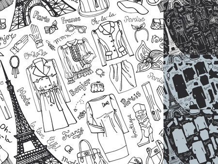 Paris Fashion silhouette.Clothing seamless pattern.Doodle Vector