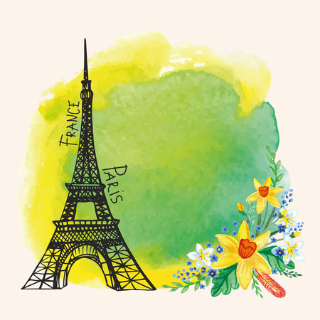 Paris card.Eiffel tower,Watercolor Narcissus bouquet,stain