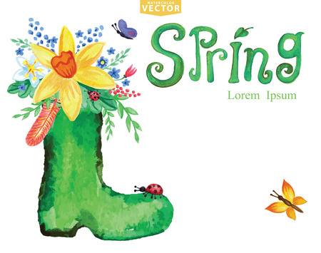rubber boots: Watercolor Spring card.Word,rubber boots,floral group