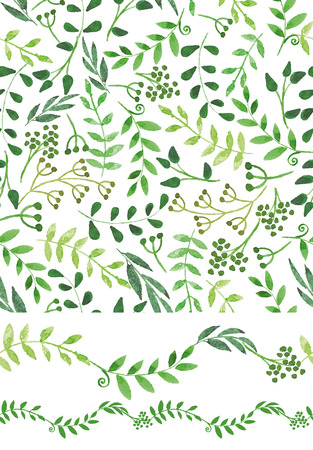 Watercolor seamless pattern and border.Vintage Green branches Ilustração
