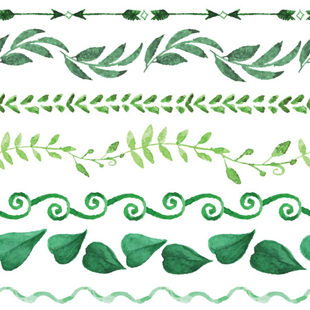 Watercolor seamless border  set.Vintage floral green branches