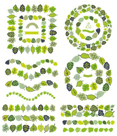green leaves border: Green leaves  border,brushes,wreath set.Stylized leaf Illustration