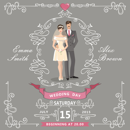 Wedding invitation.Cartoon bride,groom,Swirl elements,ribbons Vector