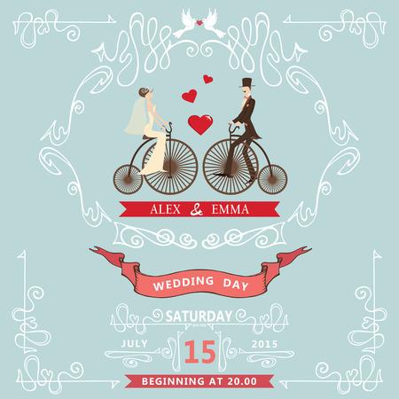Wedding invitation.�artoon bride,groom,bicycle,Swirl elements Vector