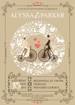 Wedding invitation.Wreath,Bride,groom,retro bicycle,icons Vector