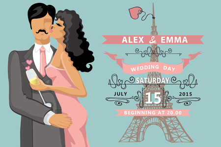 Wedding invitation.Kissing couple ,Eiffel tower Vector