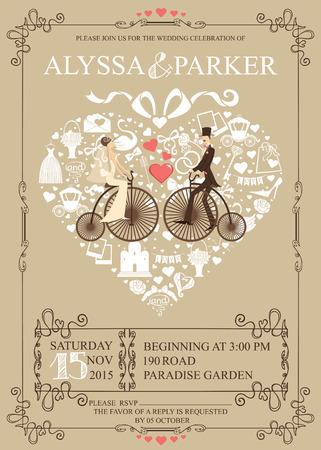 Wedding invitation.Heart composition.Bride,groom,bicycle Vector