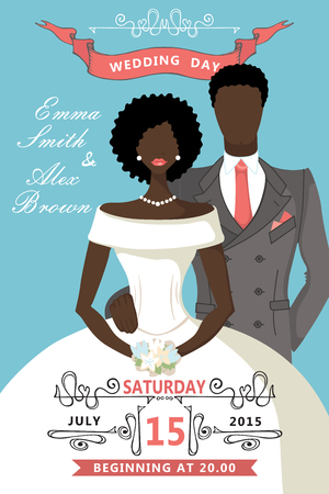 mulatto: Wedding invitation.Cute cartoon mulatto bride , groom Illustration
