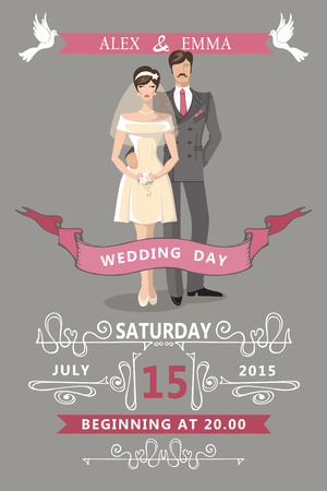 bride and groom illustration: Wedding invitation.Cute  cartoon bride and groom Illustration