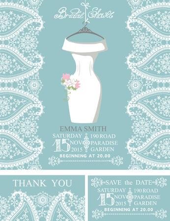 bridal dress: Wedding bridal dress with paisley border.Template set