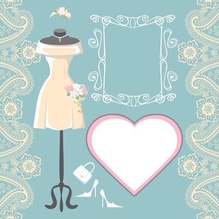 bridal dress: Wedding bridal dress with paisley border, label, frame