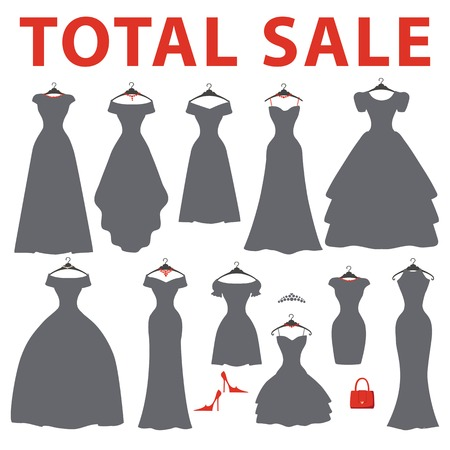 Silhouette of dresses.Total sale Vector