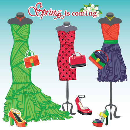 coctail: Three coctail dresses with accessories.Spring fashion