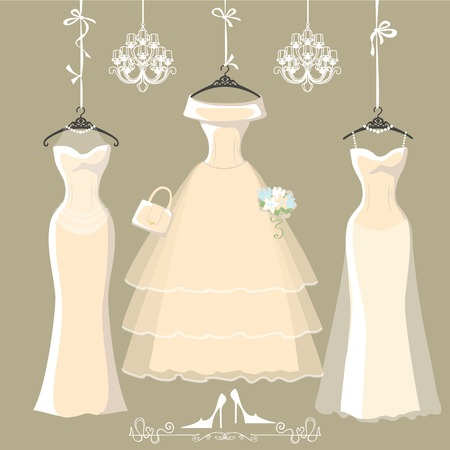 wedding celebration: Set of  three long bridal dresses hang on ribbons