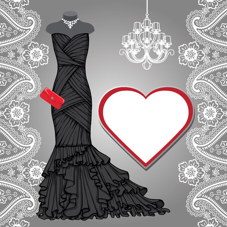 woman red dress: Black party dress,chandelier,label,paisley border Illustration