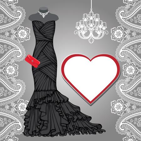 Black party dress,chandelier,label,paisley border Illustration