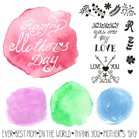 steins: Watercolor pastel steins and headline.Mothers day template Illustration