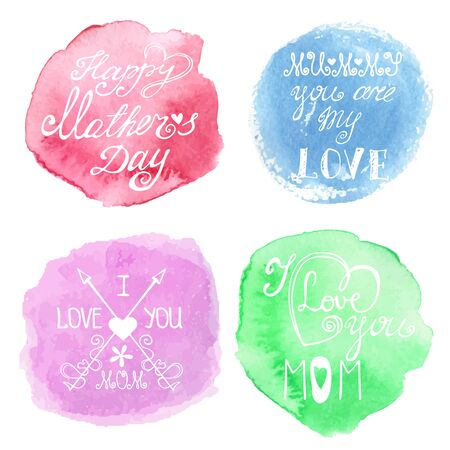 steins: Watercolor pastel steins and headline.Mothers day cards