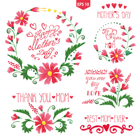 headlines: Watercolor floral goup ,headlines set.Mother day decor Illustration