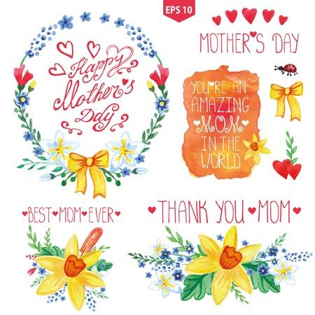 headlines: Watercolor floral bouquet,headlines set.Mother day decor