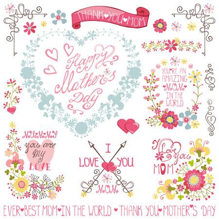 Vintage Floral heart wreath,headline,decor set.Mother day