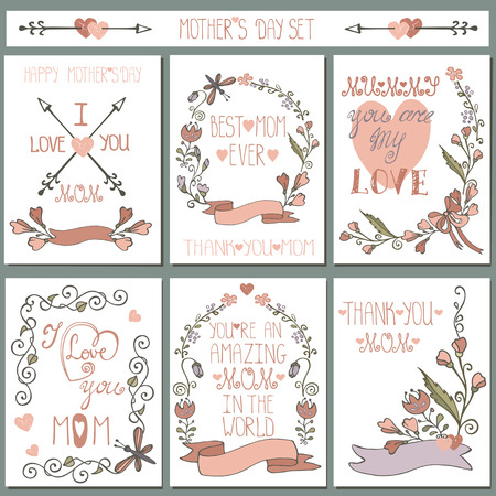 flower border: Vintage cards set.Doodle floral decor.Mothers day
