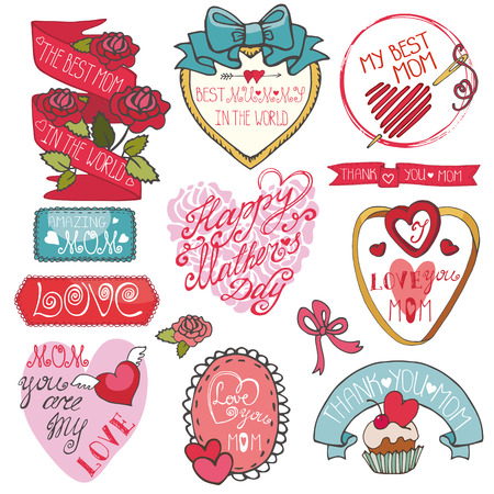 hearts and roses: Mothers day decor elements set.Ribbons,labels, hearts,roses,lett Illustration