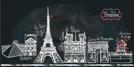monuments: Set of Paris landmark panorama.Doodle sketchy Chalcboard