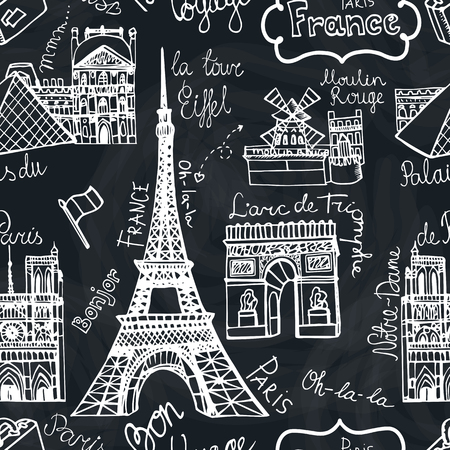 paris: Paris landmark seamless patern.Doodle sketchy Chalkboard Illustration
