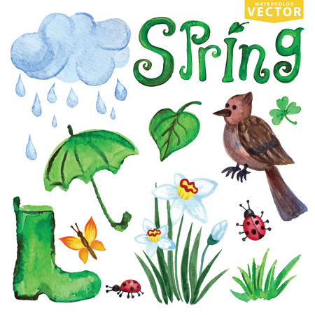 cloud clipart: Watercolor Spring icons.Clouds, Word,bird,flowers Illustration