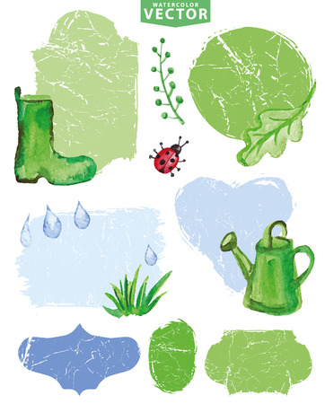 watering can: Watercolor Spring group,labels.Green