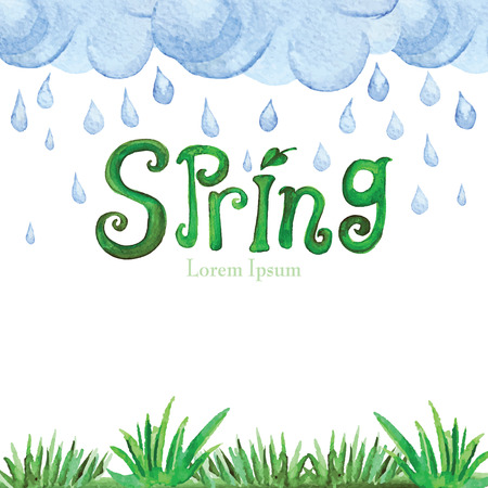 word clouds: Watercolor Spring Background.Green grass,word,clouds Illustration