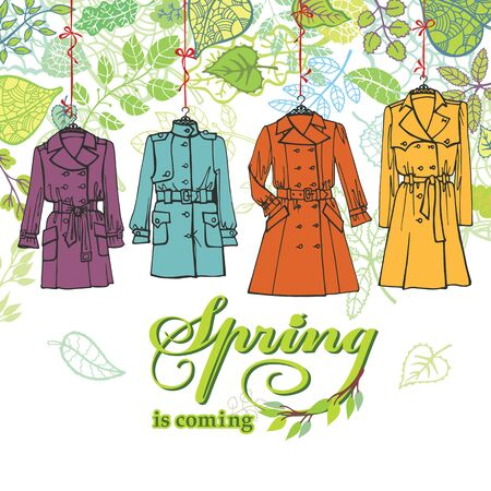 Spring  Fashion .Woman coats set.Leaves decor Vector