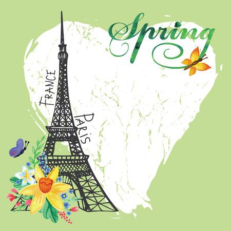 Paris vintage spring card.Eiffel tower,Watercolor flowers Vector