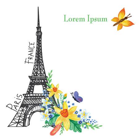 Paris  spring card.Eiffel tower,Watercolor flowers Vector