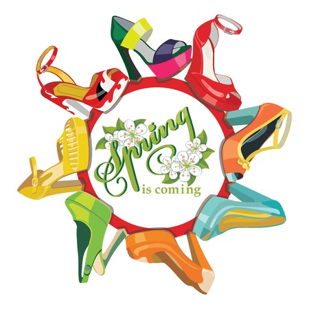 multicoloured: Multicoloured fashion womens shoes.Circle composition.Spring Illustration