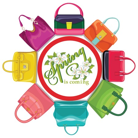 leather goods: Multicoloured fashion womens handbag.Circle composition.Spring.e
