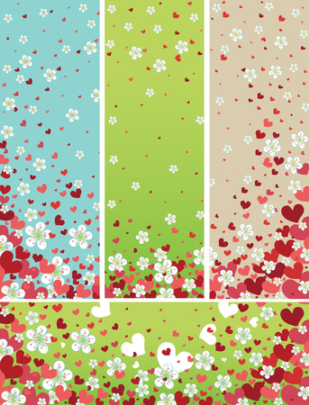 darts flying: Flying spring flowers and red hearts backgrounds set
