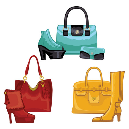 leather goods: Fashionable colored womens boots ,shoes,handbags