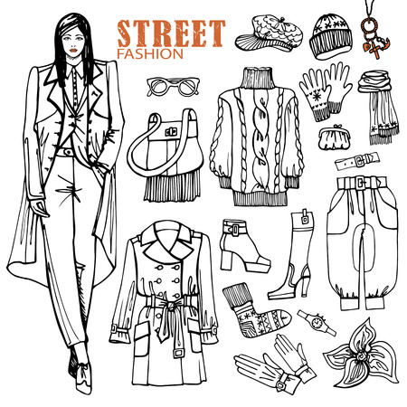 Fashion girl and street clothing set.Sketch style.Outline Vector