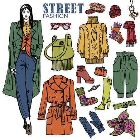 Fashion girl and street clothing set.Colored Sketch Vector