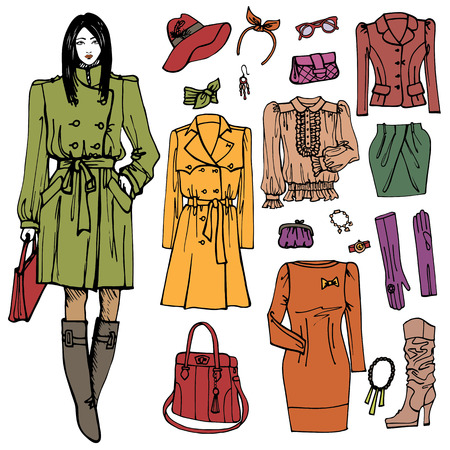 Fashion girl and street clothing set.Colored doodle Sketch Vector