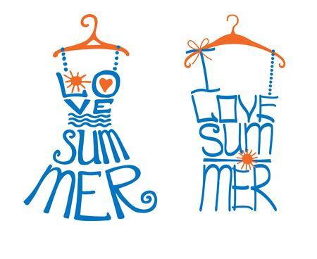 dress shirt: Woman dress,shirt in words love Summer.Typography Design