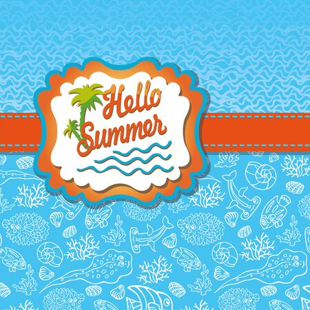 Summer design template.Funny Sea Life,Sun label,wave Vector
