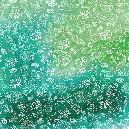 stein: Estate background.Funny Sea Life, acquerello stein Vettoriali