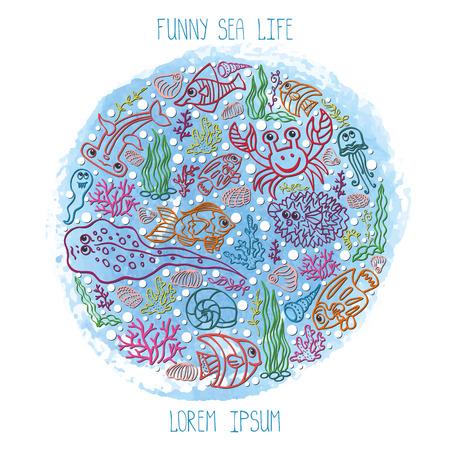 stein: Estate background.Colored Sea Life, acquerello blu stein