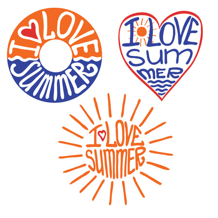 schematically: Lifebuoy,heart,sun in words I love summer Illustration