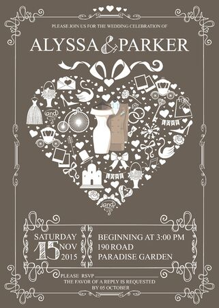 wedding heart: Wedding invitation with heart composition.Wedding clothes